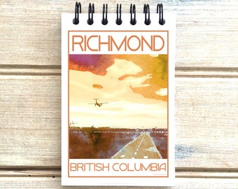 Richmond B.C. - Love This Place - Cityscape Notebook - Vancouver Notepad Custom Gift - Canada - The Jitterbug Shop