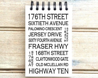 Cloverdale B.C. - Love This Place - Street Name Notebook - Busroll Notepad Journal Custom Gift B.C. - Vancouver Canada