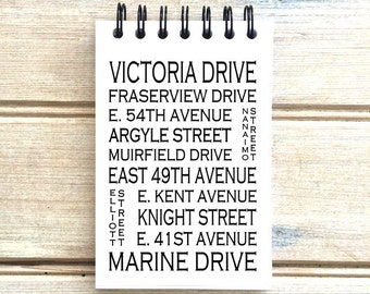 Fraserview Vancouver B.C. - Love This Place - Street Name Notebook - Busroll Notepad Journal Custom Gift B.C. - Canada