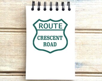 Crescent Beach B.C. - Love This Place - Route Street Sign Dark Teal Blue Spiral Notepad Notebook Journal Vancouver The Jitterbug Shop