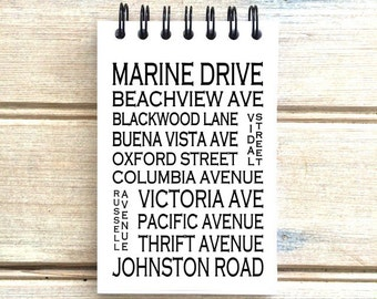 White Rock B.C. - Love This Place - Street Name Notebook - Busroll Notepad Journal Custom Gift - Vancouver Canada