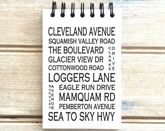 Squamish BC - Love This Place - Street Name Notebook - Busroll Notepad Journal Custom Gift - Vancouver Canada