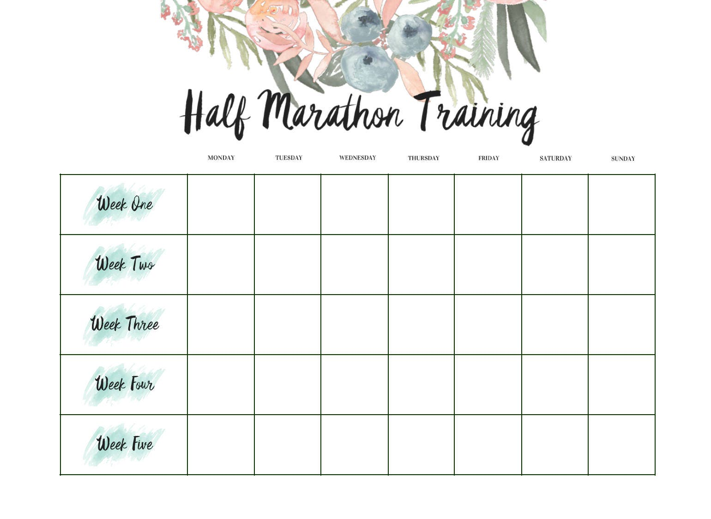 Half Marathon Calendar.Half Marathon Training Calendar 12 Weeks