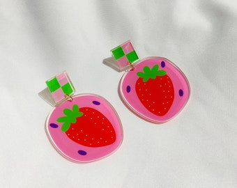 """Strawberry"""" statement earrings   Recycled acrylic colourful earrings"""
