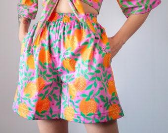 "Orange garden"" print high waisted Shorts   Elastic waist bermuda shorts"