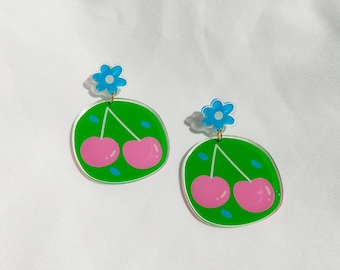 """Cherries"""" statement earrings   Recycled acrylic flower and cherry earrings"""