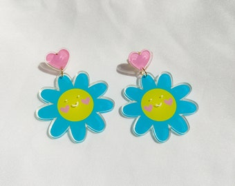 """Happy Daisies"""" statement earrings   Recycled acrylic colourful earrings"""