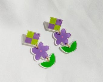 "In bloom"" tiered earrings   Recycled acrylic flower earrings"