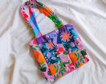 Patchwork Tote Bag made with remnant Cherry and Mint textiles   Zero waste sustainable bag