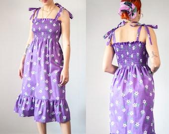 """Daisy dream"""" shirred midi dress in organic cotton"""
