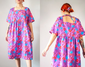 Purple Haze' Square Neck Midi Smock Dress  