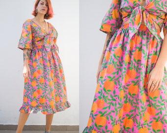 "Orange garden"" print midi skirt in organic cotton fabric   Colourful two-piece set"