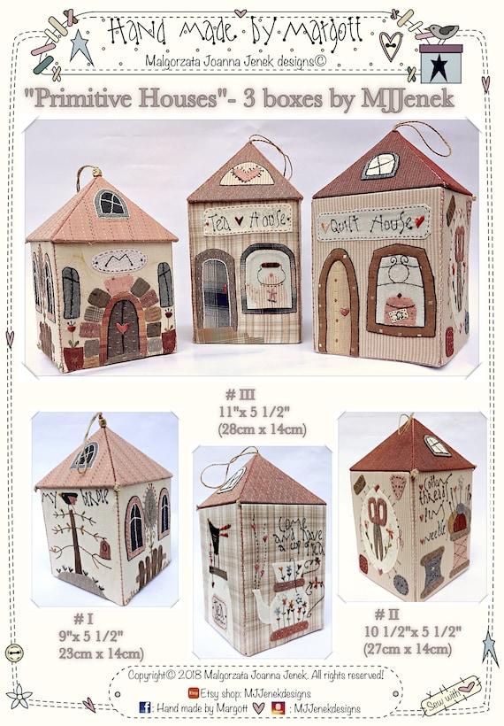 Primitivas casas 3 cajas por MJJ papel / patrón físico | Etsy
