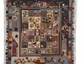 Scraps of my life - PAPER pattern, Quilt pattern, primitive quilt by MJJenek, hand appliqué