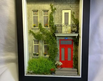 Dollhouse, Miniature  House Front Diorama, Shadowbox Art, Sculpture Wall Art