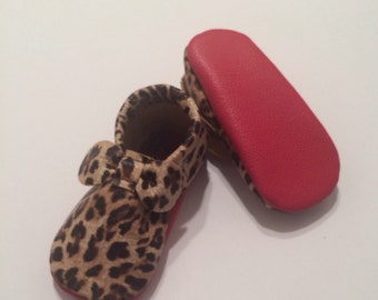 1020bbbedf4b Cheetah Louboutin Inspired Bow Leather Baby Moccasins