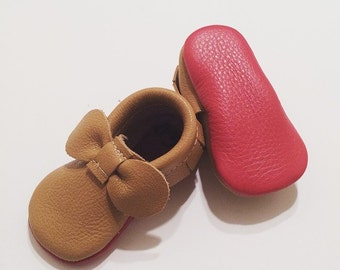 4b8534b7ff16 Honey Louboutin Inspired Leather Baby Moccasins