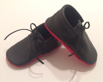 febf9872ee99 Black Louboutin Inspired Lace-up Leather Baby Moccasins