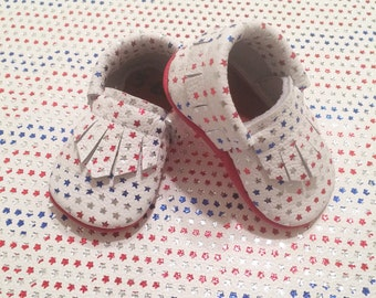 America Moccs Leather Baby Moccasins, 'Merica Moccs, Red white and blue, Baby Mary Jane Moccasins, Toddler Moccasins, Baby Moccasins