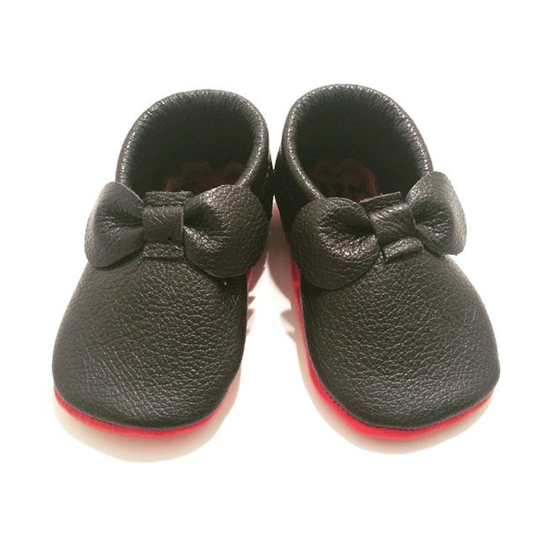 fe5a1c718b60 Black Louboutin Inspired Bow Leather Baby Moccasins Red