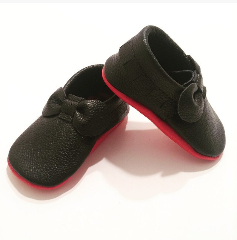 2a3acfd6001 Black Louboutin Inspired Bow Leather Baby Moccasins Red