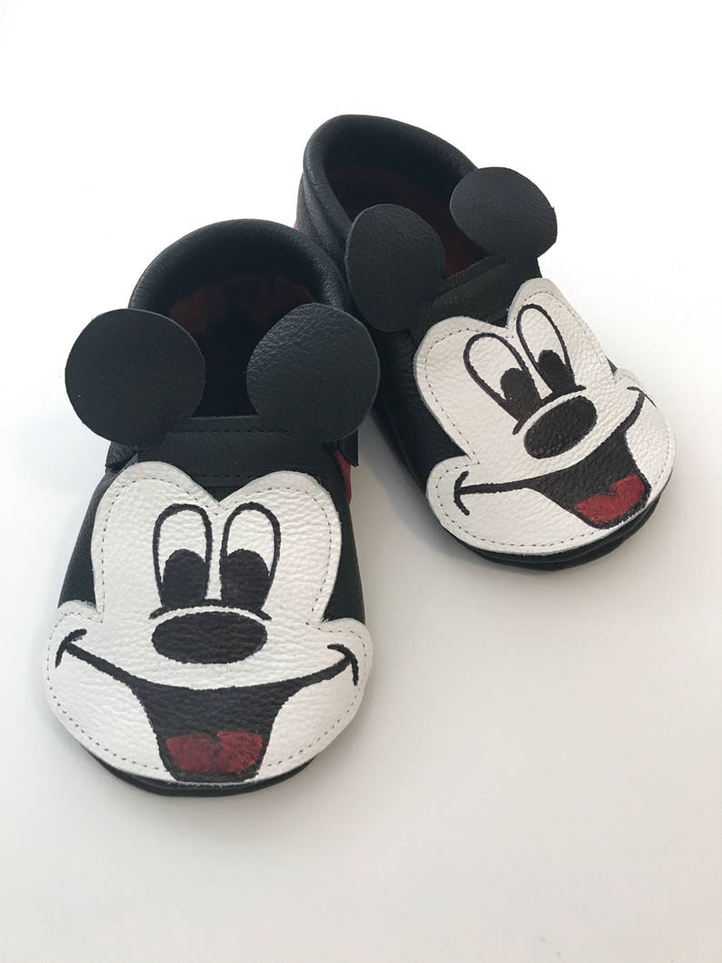 970061901cb0b Classic Mickey Mouse Leather Moccasins, Mickey Mouse Shoes, Disney Moana  Shoes,Baby Moccasins,Baby Shoes,Disney Moccasins
