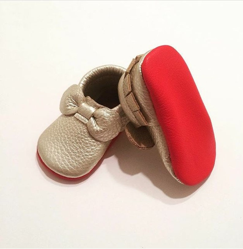 bb9daa9be3b Platinum Louboutin Inspired Leather Baby Moccasins Red