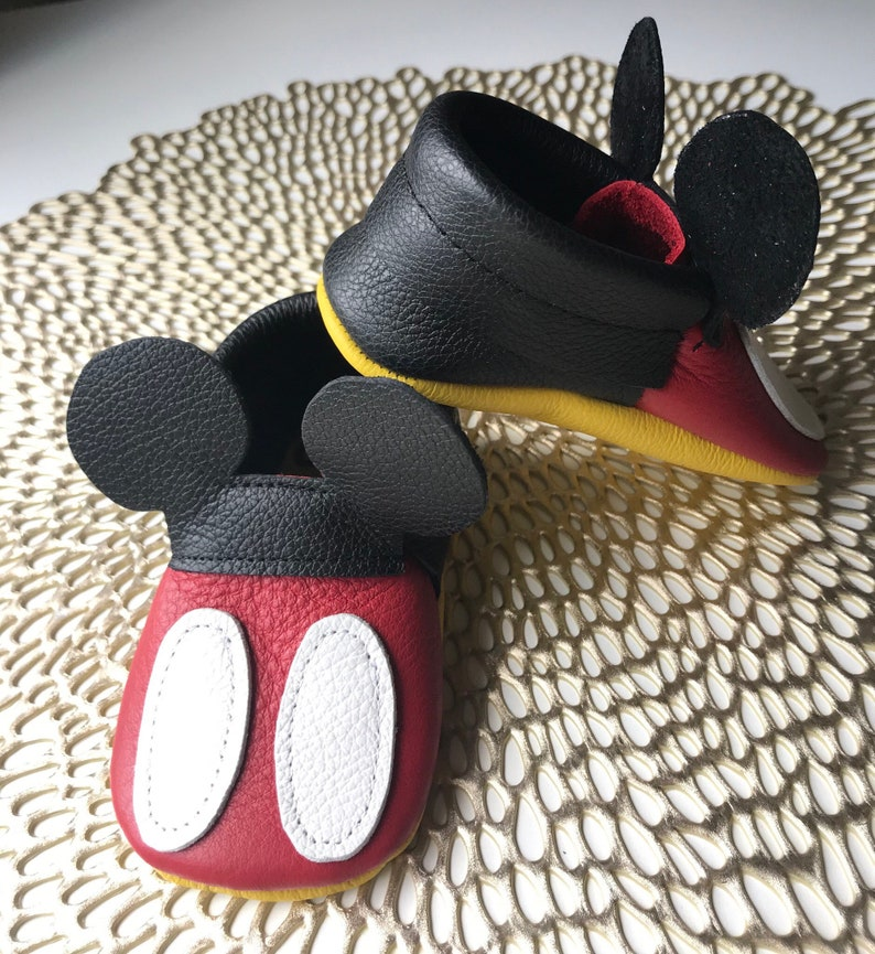 2532c26e14dc2 Mickey Mouse Leather Baby Moccasins, Mickey Mouse Moccs, disney, Baby  Moccasins, Disney Toddler Moccasins, Leather Baby Moccasins