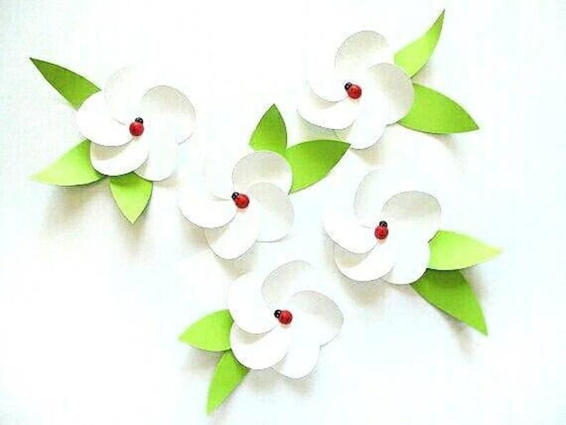 Marienkäfer Auf Weiße Blume Dekoration Papier Blumen 3d Unter Etsy