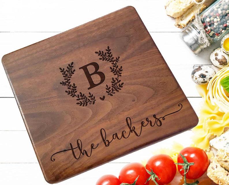 Wedding Monogram Cheese Board kitchen sign Custom cutting board 159 Personalized cutting Board