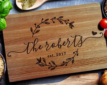 Personalized Cutting Board, Custom cutting Board, Chopping Block Wedding Monogram, Closing gift, Wedding gift (157)