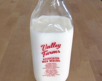 vintage Valley Farms quart milk bottle