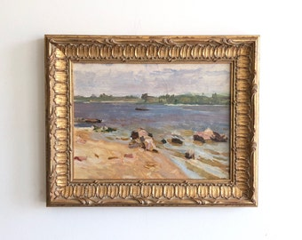 Waterscape Antique Seascape Original Vintage Oil Painting Signed Framed