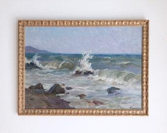 Surf and Waves Original Vintage Oil Painting Signed Framed
