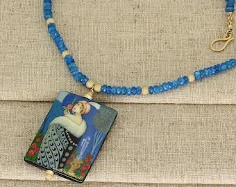 BN226- Blue Apatite necklace with hand painted miniature portrait