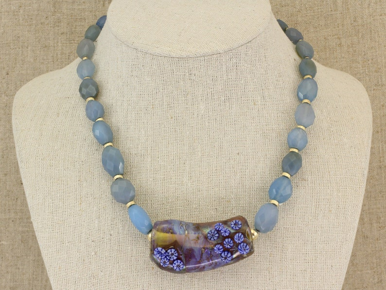 Lampwork Glass and powder blue Agate bead necklace BN202