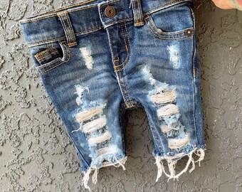 c14bb203b3 JACK'S baby toddler boy unisex destroyed distressed deconstructed ripped  shredded basic denim jeans shorts