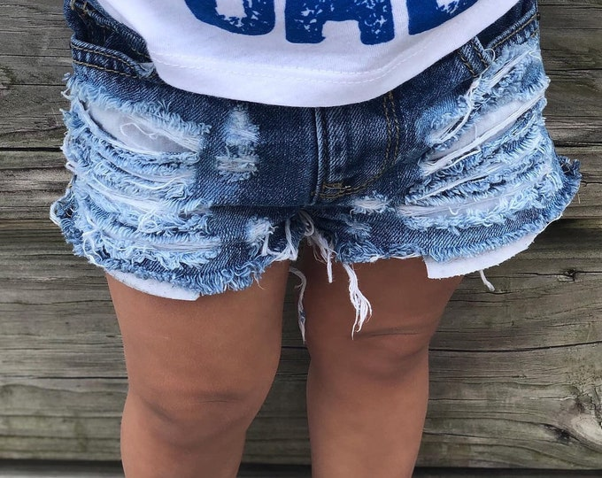 842fcdda49 JILL'S baby toddler girl destroyed distressed deconstructed ripped shredded  basic denim jeans shorts shorties