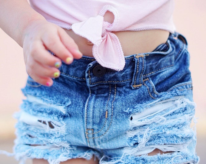 788393874c RIPPED TIDES baby girl toddler bleached ombre ripped destroyed distressed  deconstructed denim jeans shorts