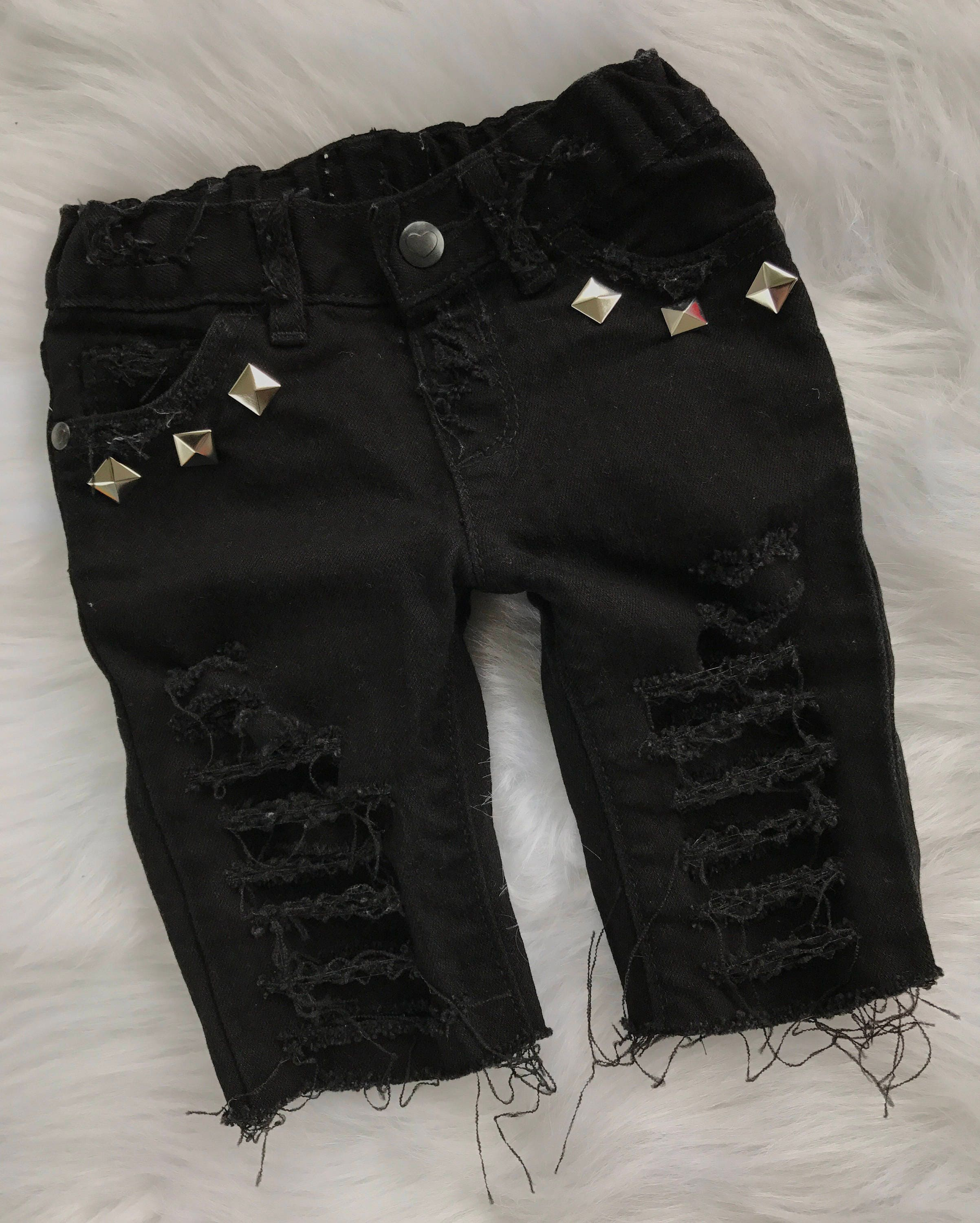 060ffa28e512 MISFITS baby boy girl unisex toddler black distressed destroyed  deconstructed ripped studded skinny denim jeans shorts