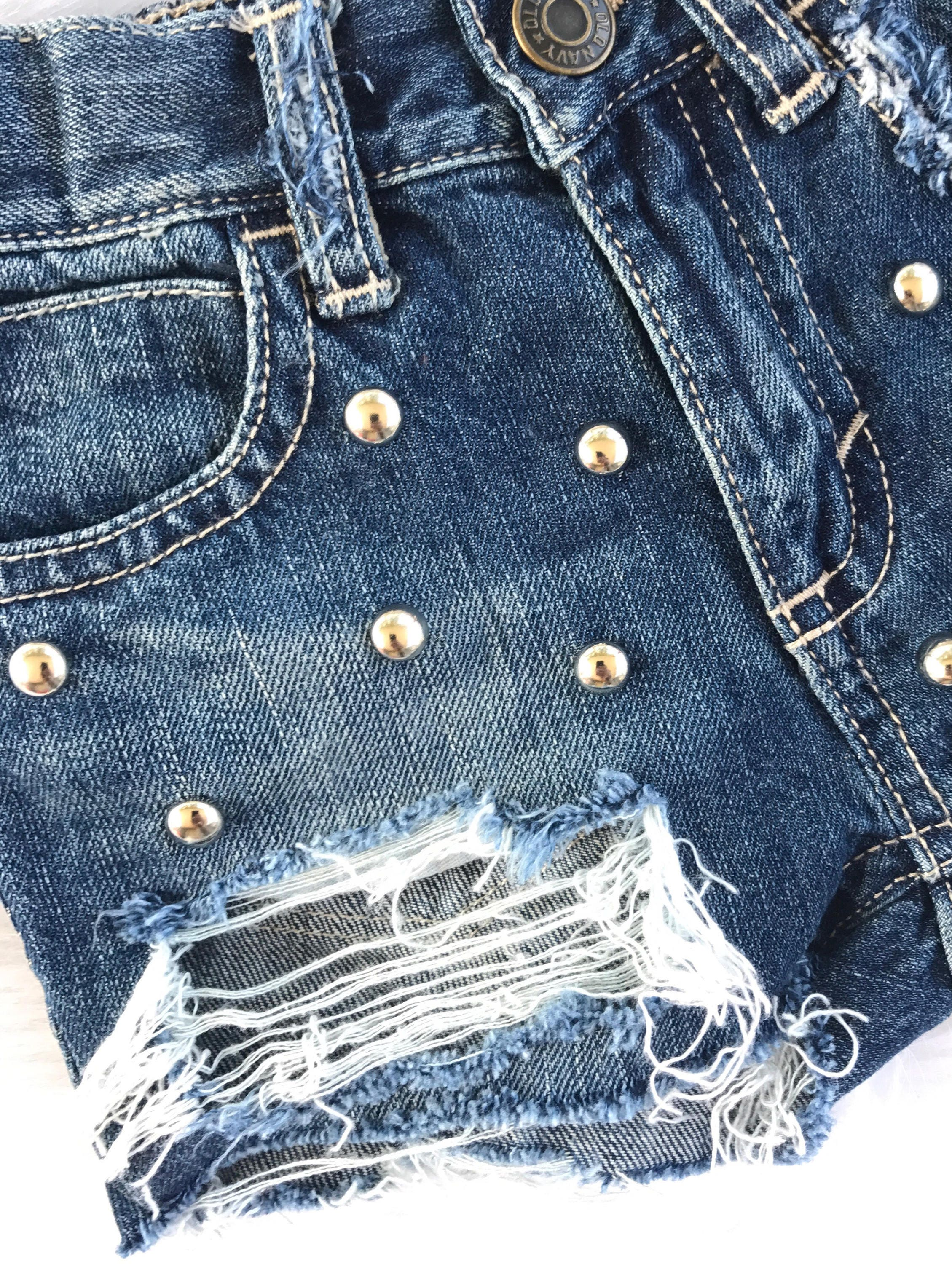 fe6d4d1595 BETTIES baby toddler girl distressed destroyed deconstructed ripped cut off  studded denim jeans shorts