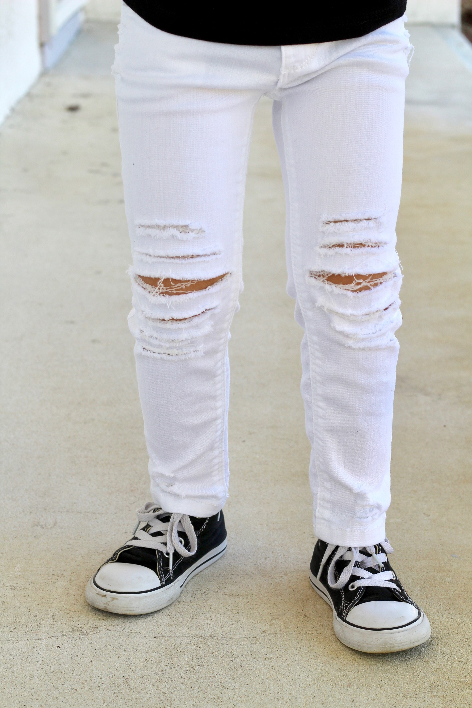 b1af59a06 READY TO SHIP baby girl boy toddler unisex distressed deconstructed ripped  white skinny denim jeans