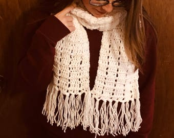 White Ribbed Scarf with Fringe, white scarf, crochet scarf, scarf