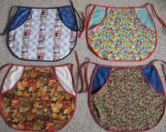 PEG POCKET APRON Vintage Style Half Apron Quality Fabric Prints