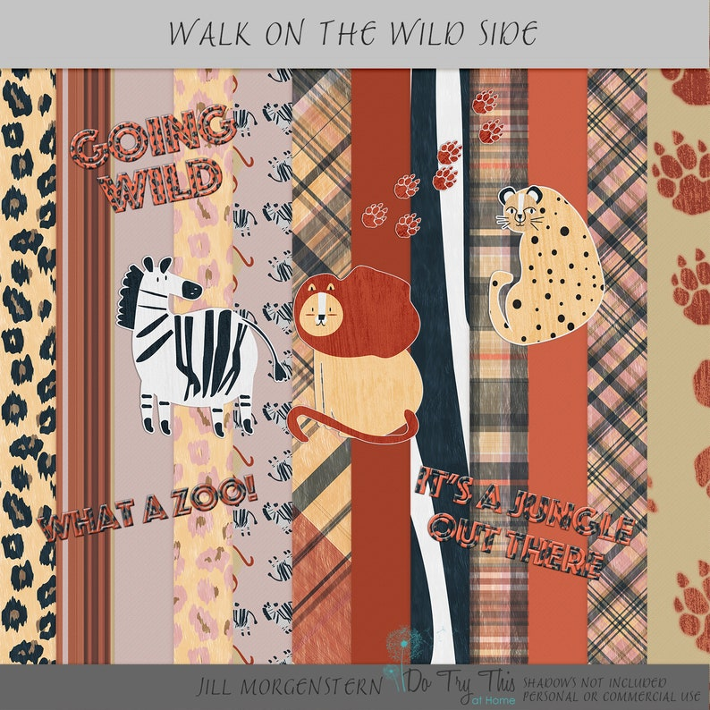 What a Zoo  Digital Scrapbooking or Card Making Kit image 0