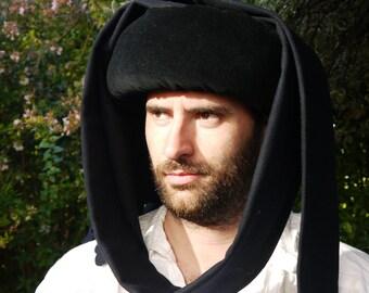 Chaperon. Medieval Men's 15th century chaperon, medieval clothing, historical costume, Medieval Wedding, Men's hat Reenactment Headress.
