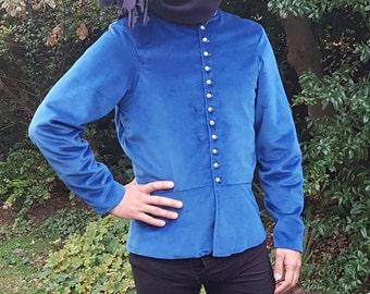 Medieval Men's 15th century doublet, medieval clothing, historical costume, Blue, Silk Velvet. Medieval Wedding, Reenactment clothing.