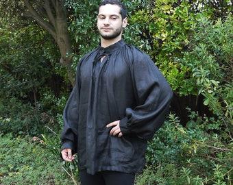 Large Medieval Men's black linen chemise. shirt, medieval clothing, historical costume. Reenactment clothing.