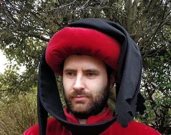 Medieval Men's 15th century chaperon, medieval clothing, historical costume, red velvet black wool. Medieval Wedding, Reenactment Headress.