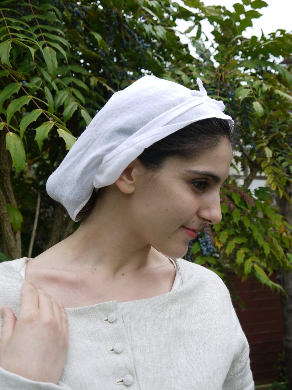 Coif medieval hat cap. Headress linen women or girls  9e9e1257089